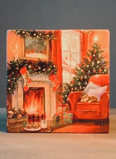 LWP Shop Noel Şömine Traverten Bardak Altlığı Renkli